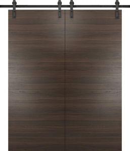 Planum 0010 Modern Interior Solid Wood Flush Closet Double Barn Doors Chocolate Ash with Track 13FT Rail Hardware Set