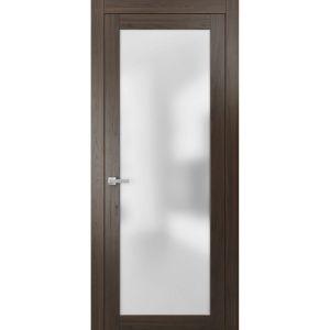 Planum 2102 Interior Modern Flush Solid Door Chocolate Ash with Trims Frame Lever