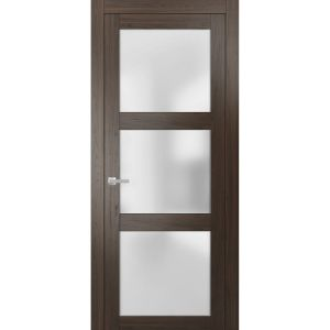 Solid French Door Frosted Glass   Lucia 2552 Chocolate Ash   Single Regular Panel Frame Trims Handle   Bathroom Bedroom Sturdy Doors