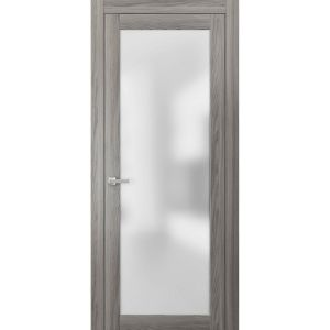 Planum 2102 Interior Modern Flush Solid Door Ginger Ash with Trims Frame Lever