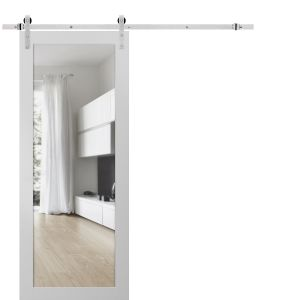 Sturdy Barn Door Clear Glass with Hardware | Lucia 2166 White Silk | Stainless Steel 6.6FT Rail Hangers Heavy Set | Solid Panel Interior Doors