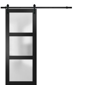 Sturdy Barn Door Frosted Glass | Lucia 2552 Matte Black | 6.6FT Rail Hangers Heavy Hardware Set | Solid Panel Interior Doors