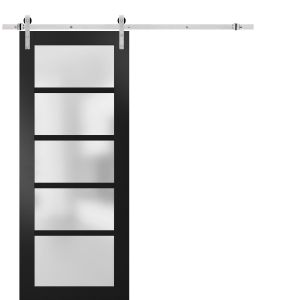 Sturdy Barn Door Frosted Glass with Hardware | Quadro 4002 Matte Black | Stainless Steel 6.6FT Rail Hangers Heavy Set | Solid Panel Interior Doors