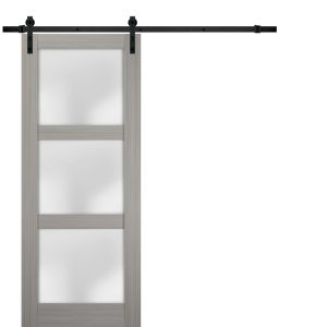 Sturdy Barn Door Frosted Glass | Lucia 2552 Grey Ash | 6.6FT Rail Hangers Heavy Hardware Set | Solid Panel Interior Doors