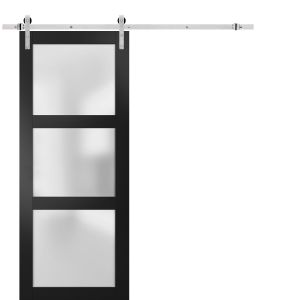 Sturdy Barn Door Frosted Glass with Hardware | Lucia 2552 Matte Black | Stainless Steel 6.6FT Rail Hangers Heavy Set | Solid Panel Interior Doors