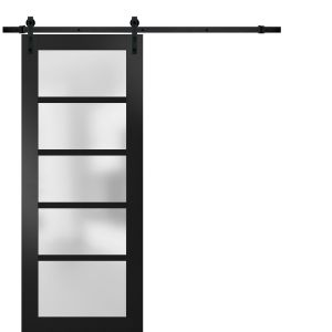 Sturdy Barn Door Frosted Glass | Quadro 4002 Matte Black | 6.6FT Rail Hangers Heavy Hardware Set | Solid Panel Interior Doors