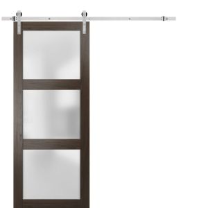Sturdy Barn Door Frosted Glass with Hardware | Lucia 2552 Chocolate Ash | Stainless Steel 6.6FT Rail Hangers Heavy Set | Solid Panel Interior Doors