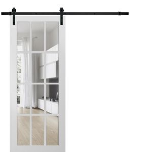 Sturdy Barn Door Clear Glass 12 lites | Felicia 3355 Matte White | 6.6FT Rail Hangers Heavy Hardware Set | Solid Panel Interior Doors