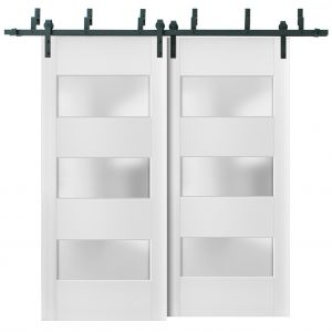 Sliding Closet Frosted Glass 3 Lites Barn Bypass Doors | Lucia 4070 White Silk | Sturdy 6.6ft Rails Hardware Set | Wood Solid Bedroom Wardrobe Doors