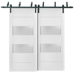 Sliding Closet Frosted Glass 2 lites Barn Bypass Doors   Lucia 4010 White Silk   Sturdy 6.6ft Rails Hardware Set   Wood Solid Bedroom Wardrobe Doors