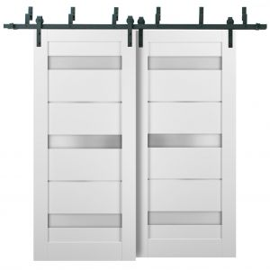 Barn Bypass Doors with 6.6ft Hardware   Quadro 4055 White Silk with Frosted Opaque Glass   Sturdy Heavy Duty Rails Kit Steel Set   Double Sliding Lite Panel Door