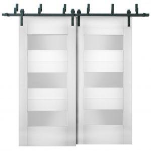 Sliding Closet Opaque Glass Barn Bypass Doors / Sete 6003 White Silk / Modern 6.6ft Rails Hardware Set / Wood Solid Bedroom Wardrobe Doors