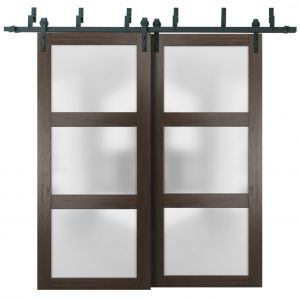 Sliding Closet Frosted Glass Barn Bypass Doors | Lucia 2552 Chocolate Ash | Sturdy 6.6ft Rails Hardware Set | Wood Solid Bedroom Wardrobe Doors