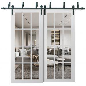 Sliding Closet Clear Glass 12 lites Barn Bypass Doors | Felicia 3355 Matte White | Sturdy 6.6ft Rails Hardware Set | Wood Solid Bedroom Wardrobe Doors