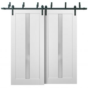 Barn Bypass Doors with 6.6ft Hardware | Quadro 4112 White Silk with Frosted Opaque Glass | Sturdy Heavy Duty Rails Kit Steel Set | Double Sliding Lite Panel Door
