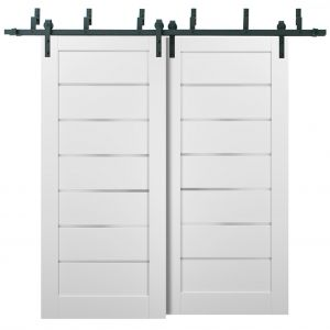 Barn Bypass Doors with 6.6ft Hardware | Quadro 4117 White Silk with Frosted Opaque Glass | Sturdy Heavy Duty Rails Kit Steel Set | Double Sliding Lite Panel Door