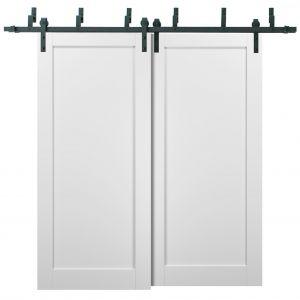 Barn Bypass Doors with 6.6ft Hardware   Quadro 4111 White Silk   Sturdy Heavy Duty Rails Kit Steel Set   Double Sliding Panel Door