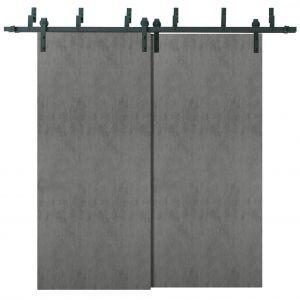 Sliding Closet Barn Bypass Doors | Planum 0010 Concrete | Sturdy Top Mount 6.6ft Rails Hardware Set | Wood Solid Bedroom Wardrobe Doors
