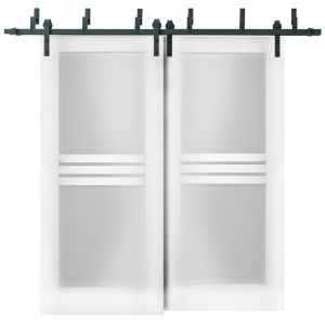 Sliding Closet Opaque Glass 4 Lites Barn Bypass Doors / Mela 7222 White Silk / Modern 6.6ft Rails Hardware Set / Wood Solid Bedroom Wardrobe Doors
