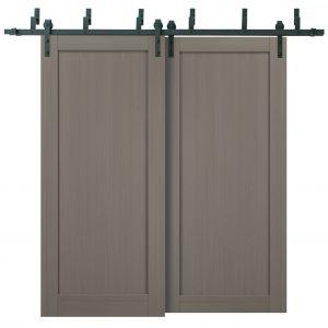 Barn Bypass Doors with 6.6ft Hardware | Quadro 4111 Grey Ash | Sturdy Heavy Duty Rails Kit Steel Set | Double Sliding Panel Door
