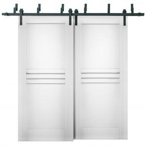 Sliding Closet Barn Bypass Doors / Mela 7444 White Silk / Modern 6.6ft Rails Hardware Set / Wood Solid Bedroom Wardrobe Doors
