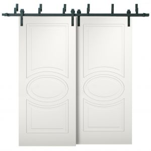 Sliding Closet Barn Bypass Doors / Mela 7001 Matte White / Modern 6.6ft Rails Hardware Set / Wood Solid Bedroom Wardrobe Doors