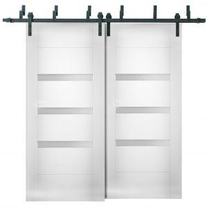 Sliding Closet Opaque Glass Barn Bypass Doors / Sete 6900 White Silk / Modern 6.6ft Rails Hardware Set / Wood Solid Bedroom Wardrobe Doors