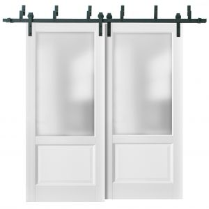 Barn Bypass Doors with 6.6ft Hardware | Lucia 22 White Silk with Frosted Opaque Glass | Sturdy Heavy Duty Rails Kit Steel Set | Double Sliding Lite Panel Door