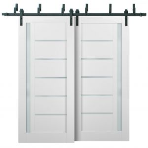 Barn Bypass Doors with 6.6ft Hardware | Quadro 4088 White Silk with Frosted Opaque Glass | Sturdy Heavy Duty Rails Kit Steel Set | Double Sliding Lite Panel Door