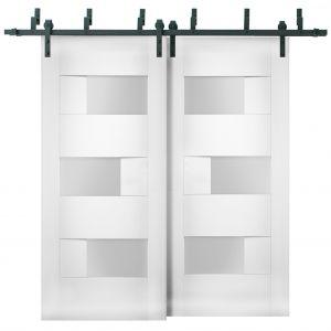 Sliding Closet Opaque Glass Barn Bypass Doors / Sete 6933 White Silk / Modern 6.6ft Rails Hardware Set / Wood Solid Bedroom Wardrobe Doors