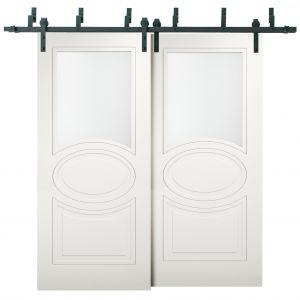 Sliding Closet Opaque Glass Barn Bypass Doors / Mela 7012 Matte White / Modern 6.6ft Rails Hardware Set / Wood Solid Bedroom Wardrobe Doors
