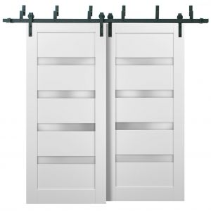 Barn Bypass Doors with 6.6ft Hardware | Quadro 4113 White Silk with Frosted Opaque Glass | Sturdy Heavy Duty Rails Kit Steel Set | Double Sliding Lite Panel Door