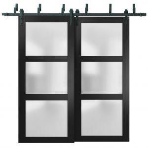 Sliding Closet Frosted Glass Barn Bypass Doors | Lucia 2552 Matte Black | Sturdy 6.6ft Rails Hardware Set | Wood Solid Bedroom Wardrobe Doors