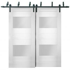 Sliding Closet Opaque Glass 2 Lites Barn Bypass Doors / Sete 6222 White Silk / Modern 6.6ft Rails Hardware Set / Wood Solid Bedroom Wardrobe Doors