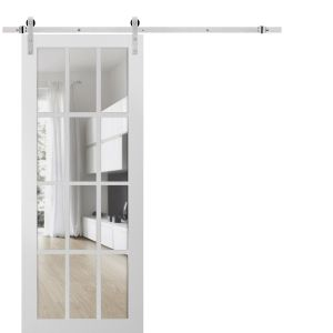 Sturdy Barn Door Clear Glass 12 lites with Hardware | Felicia 3355 Matte White | Stainless Steel 6.6FT Rail Hangers Heavy Set | Solid Panel Interior Doors