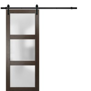 Sturdy Barn Door Frosted Glass | Lucia 2552 Chocolate Ash | 6.6FT Rail Hangers Heavy Hardware Set | Solid Panel Interior Doors