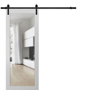 Sturdy Barn Door Clear Glass | Lucia 2166 White Silk | 6.6FT Rail Hangers Heavy Hardware Set | Solid Panel Interior Doors