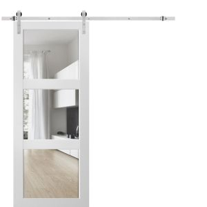 Sturdy Barn Door Clear Glass 3 Lites with Hardware | Lucia 2555 Matte White| Stainless Steel 6.6FT Rail Hangers Heavy Set | Solid Panel Interior Doors