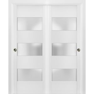 Sliding Closet Frosted Glass 3 Lites Bypass Doors | Lucia 4070 White Silk | Sturdy Rails Moldings Trims Hardware Set | Wood Solid Bedroom Wardrobe Doors
