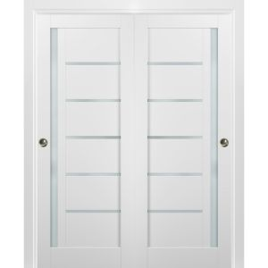 Sliding Closet Bypass Doors with hardware | Quadro 4088 White Silk with Frosted Opaque Glass | Sturdy Rails Moldings Trims Set | Kitchen Lite Wooden Solid Bedroom Wardrobe Doors