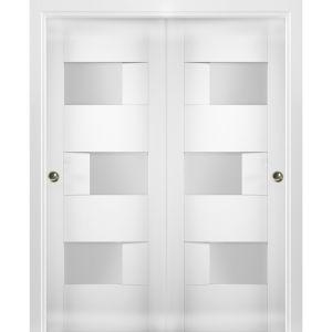 Sliding Closet Opaque Glass Bypass Doors / Sete 6933 White Silk / Rails Hardware Set / Wood Solid Bedroom Wardrobe Doors