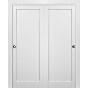 Sliding Closet Bypass Doors with hardware   Quadro 4111 White Silk   Sturdy Rails Moldings Trims Set   Kitchen Wooden Solid Bedroom Wardrobe Doors