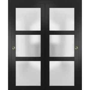 Sliding Closet Frosted Glass Bypass Doors | Lucia 2552 Matte Black | Sturdy Rails Moldings Trims Hardware Set | Wood Solid Bedroom Wardrobe Doors