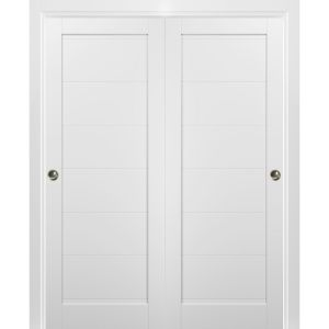 Sliding Closet Bypass Doors with hardware | Quadro 4115 White Silk | Sturdy Rails Moldings Trims Set | Kitchen Wooden Solid Bedroom Wardrobe Doors
