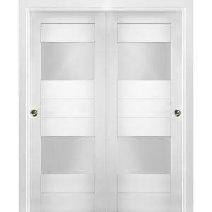 Sliding Closet Opaque Glass 2 Lites Bypass Doors / Sete 6222 White Silk / Rails Hardware Set / Wood Solid Bedroom Wardrobe Doors
