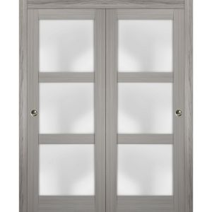 Sliding Closet Frosted Glass Bypass Doors | Lucia 2552 Grey Ash | Sturdy Rails Moldings Trims Hardware Set | Wood Solid Bedroom Wardrobe Doors