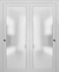 Planum 2102 Interior Modern Closet Bypass Doors White Silk with Tracks Pulls Hardware