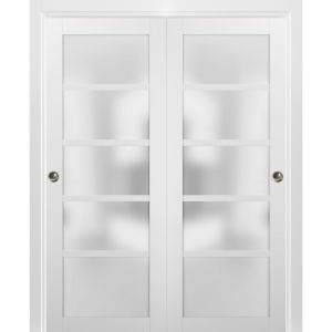 Sliding Closet Bypass Doors with hardware   Quadro 4002 White Silk with Frosted Opaque Glass   Sturdy Rails Moldings Trims Set   Kitchen Lite Wooden Solid Bedroom Wardrobe Doors