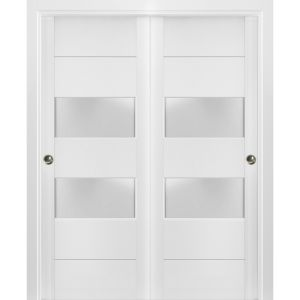 Sliding Closet Frosted Glass 2 lites Bypass Doors   Lucia 4010 White Silk   Sturdy Rails Moldings Trims Hardware Set   Wood Solid Bedroom Wardrobe Doors