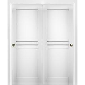 Sliding Closet Bypass Doors / Mela 7444 White Silk / Rails Hardware Set / Wood Solid Bedroom Wardrobe Doors